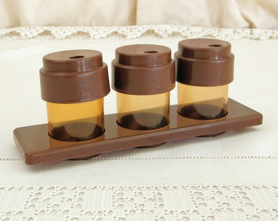 Vintage 1960s / 1970s German 3 Piece Condiment Set made by K in the GDR, Retro Salt and Pepper Tableware, 60s Kitchen Decor from Germany