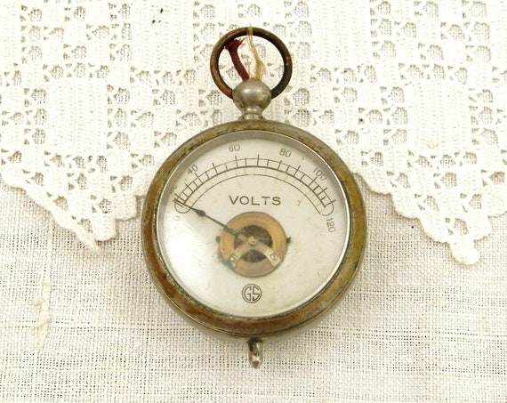 Antique French Round Pocket Voltmeter Made of Silver Plated Metal and Glass, Multimeter from France, Steampunk Electrical Equipment Decor