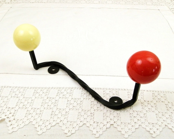 Vintage Unused French 1960s Mid Century Coat Rack Black Forged Metal and Bright Yellow and Red Ball, Retro 1970s Wall Hanging Clothes Hooks
