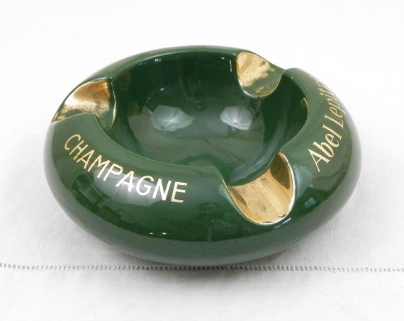 Vintage Mid Century Modern Green and Gold Ceramic Cigar Ashtray for Champagne Abel Lepitre in Reims, Retro 1950s Tobaccina Ash Tray France