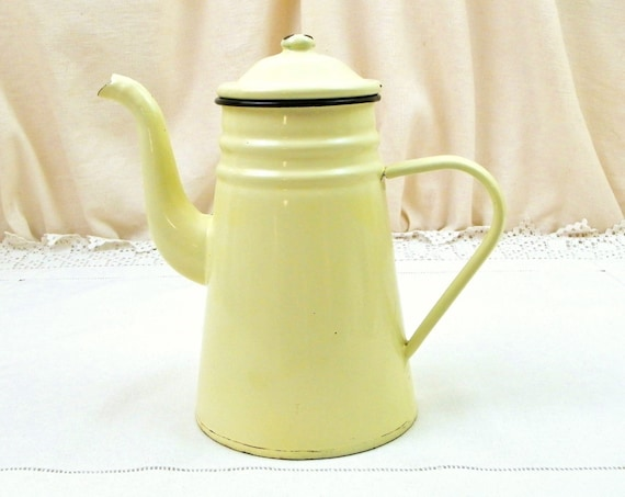 Antique French Pale Yellow Porcelain Enamel Goose Neck Coffee Pot, Retro Enamelware Cafetiere from France, Vintage Country Kitchen Decor