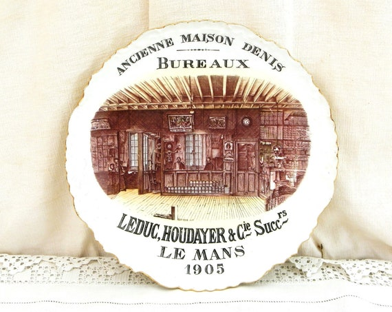 Antique French 1905 Decorative Wall Plate for the LeDuc Houdayer & Cie Store in Le Mans, Retro Historical Shop Promotional Gift from France