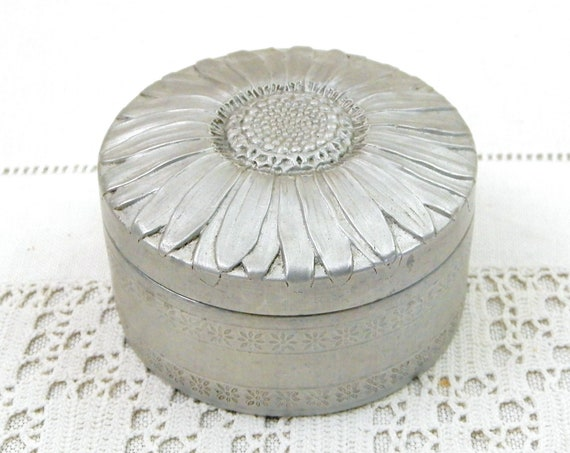 Vintage French Round White Metal Embossed Daisy Pattern Box, Retro Flower Relief Circular Container from France, Unusual Shaped Gift