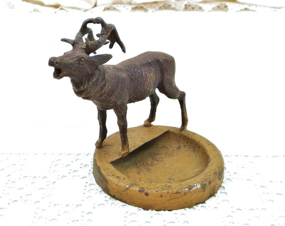 Vintage Painted Cast Metal Ashtray With a Belling Deer Stag, Retro French 1930s Forest Theme Desk Tidy, Trinket Dish Collectible France