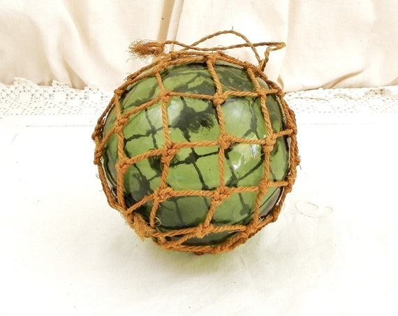 Vintage Bottle Green Glass Globe Fishing Float / Buoy with String Netting Surround from France, Retro French Seashore Home Decor, Witch Ball