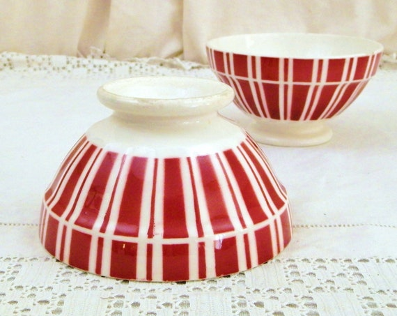 2 Matching Antique French Digoin Coffee Bowls with Maroon and White Pattern, Vintage Latte Cafe au Lait Bowl from France, Country Decor