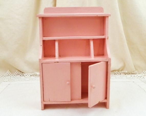 Small Vintage French Pink Painted Wooden 1940s Child's Toy Dresser, Retro Kid's Dolls House Furniture Cupboard made of Wood from France,