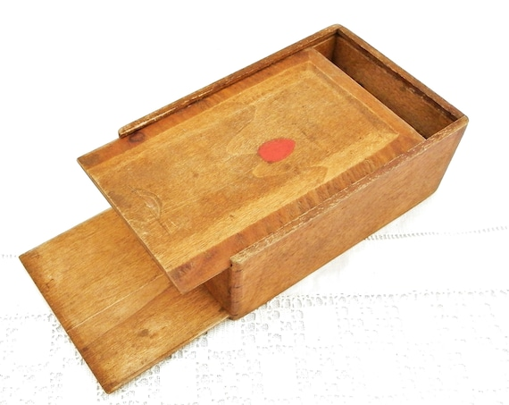 Antique French Primitive Rustic Oak Wooden Double Sided Box 2 Sliding Lids, Rural Container Made of Wood with 2 Opening on Each Side France