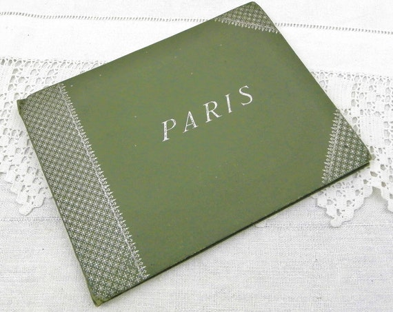Antique French 19th Century Green Booklet of 24 Scenes of Paris, 1900s Retro Book of Parisian Views, Vintage Parisian Decor, Country France