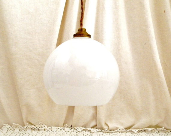 Antique 1930s Art Deco White Opaline Globe Pendant Light Shade from France, 30s Retro French Glass Lighting Fixture, Parisian Brocante