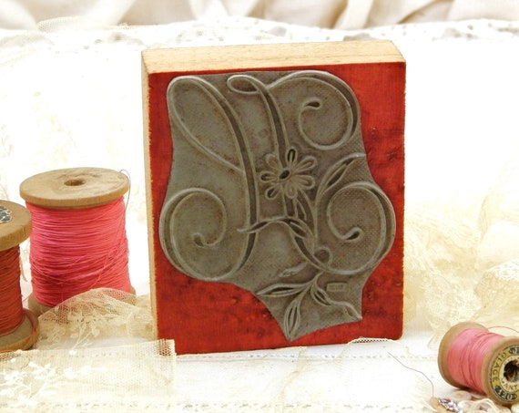 Large Antique French Wooden and Rubber Embroidery Stamp Block Letter H with Flower Pattern, Retro Vintage Victorian Craft Stamp from France