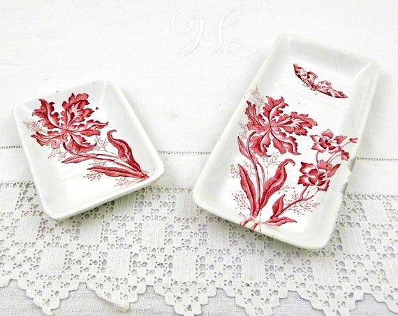 Antique French Soap Dish and Razor or Toothbrush Tray by Moulin des Loups France Butterfly and Orchid Flower Pattern, Bathroom Accessory