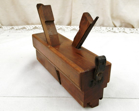 Large Antique French Carpenter / Joiners Double Molding Plane Monogrammed JM, Retro Equipment for Wood Working from France, Tool Decor