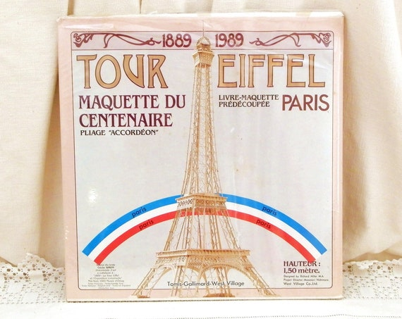 Vintage French 1989 Centenary Unused Eiffel Tower Paper Model Kit 1 Meter 50 cm / 59 Inches High Designed by Richard Miller, Curios Paris