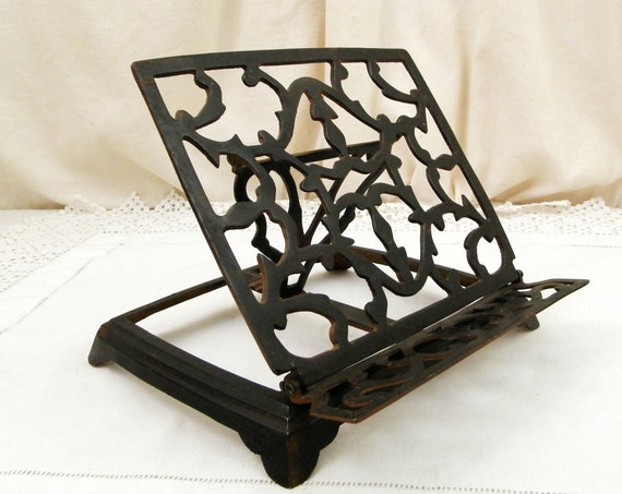 Antique French Folding Pierced Black Metal Book Stand, Retro Reading Accessory from France, Victorian Library Style Decor, Cook Book Rest