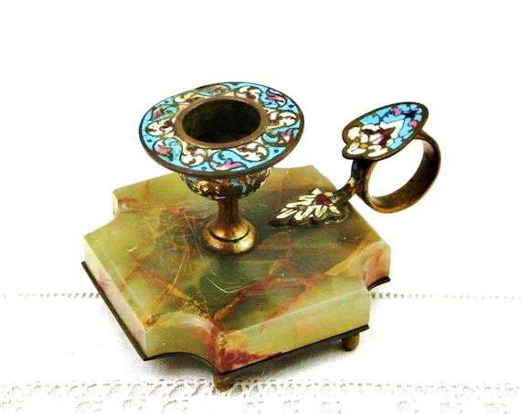 Antique 19th C French Pale Blue Champleve Cloisonne Enamel and Marble Chamber Stick, Enameled Brass and Stone Candle Holder from France