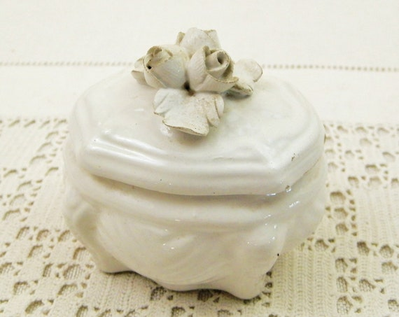 Small Antique French White Glazed Ceramic Trinket Box With White Roses on the Lid, Vintage China Pill Box from France, Country Cottage Decor