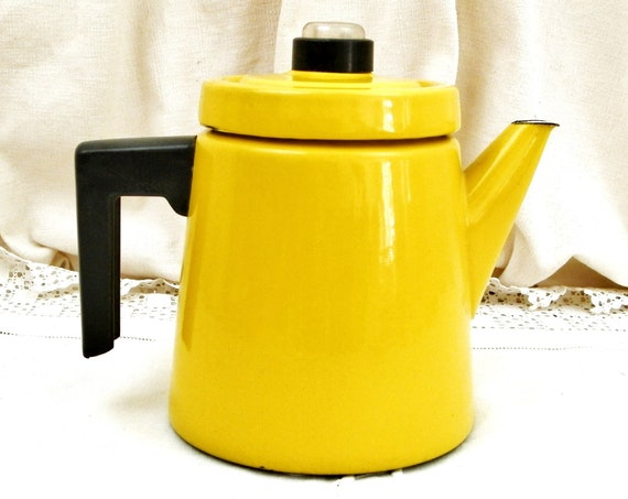 Vintage Mid Century Modern 1960s Yellow Enamelware Coffee Pot by Finel Finland Designed by Antti Nurmesniemi, Scandinavian Enamel Design