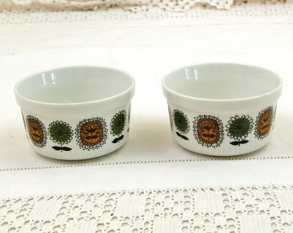 2 Vintage French 1950s French Digoin Sarregumines Porcelaine a Feu Ramekins White with Green and Brown Pattern, Retro 50 Kitchen from France