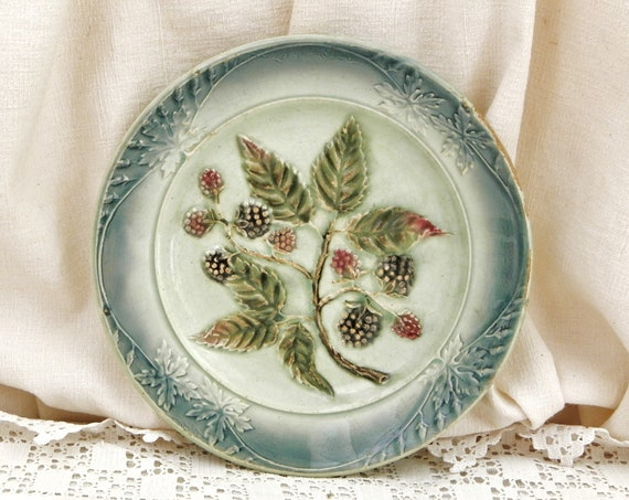 Antique French Majolica Plate with Blackberry Pattern, Decorative Wall Hanging Plate with Bramble Fruits from France, Shabby Country Decor