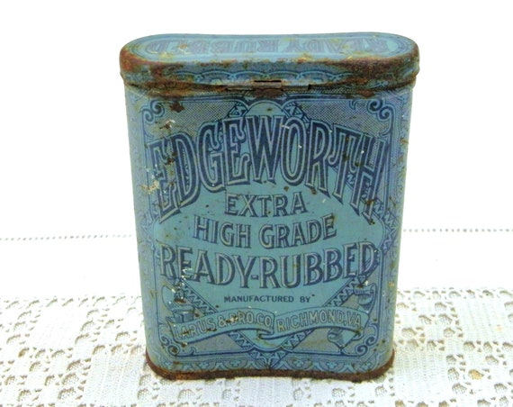Antique Blue Lithographed Pocket Tin for Edgeworth Tobacco, Collectible American Victorian Smoking Box, Retro Tobacciana Collection