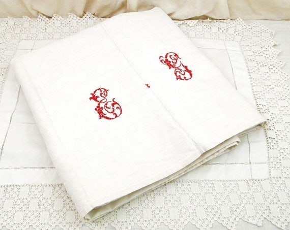 Antique French Excellent Condition Hand Loomed Linen and Cotton Metis White Sheet  with Red Monogram Cross Stitch Letters E G France