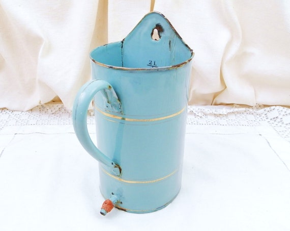 Antique French Pale Blue Enamel Water Dispenser with Gold Bands, Wall Hanging Enamelware Vase from France, Brocante Vintage Chateau Chic
