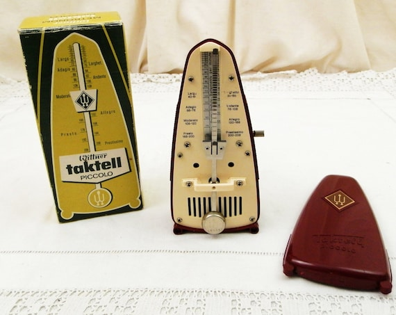 Working Vintage Boxed 1960s Mechanical Metronome Wittner Tacktell Piccolo Ruby Colored without Bell, Retro 60s Musical Accessory from France