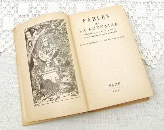 Vintage French Book Fables of Jean de La Fontaine Printed in 1960 Illustrations by Karl Girardet, Retro Brocante Bibliophile France