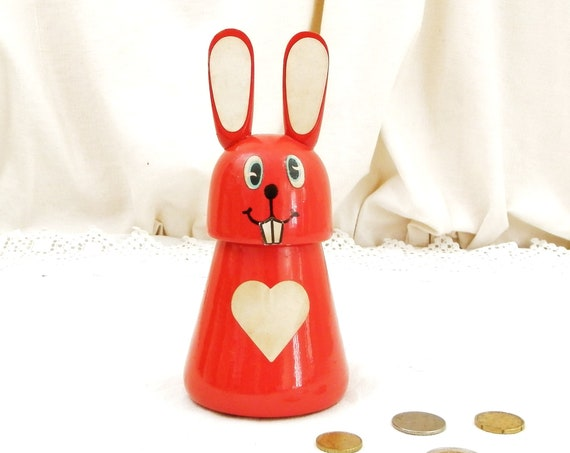 Vintage French Wooden Red Rabbit Bank Safe with Working Lock and Key, Animal Coin Money Box made of Wood from France, Fleamarket Child Gift