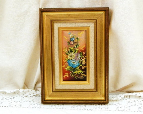 Vintage French Hand Painted Framed Enamel Panel by Artisan in Limoges, Hand Made Signed Flower Picture in Gold Gilt Wooden Frame from France
