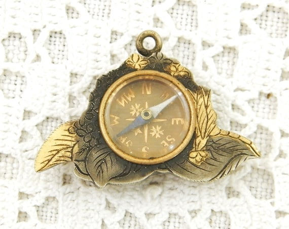 Vintage Silver and Gold Plated Metal Pendant Compass, Shabby Curios Necklace Jewelry from France, Retro North East West South Themed Gift