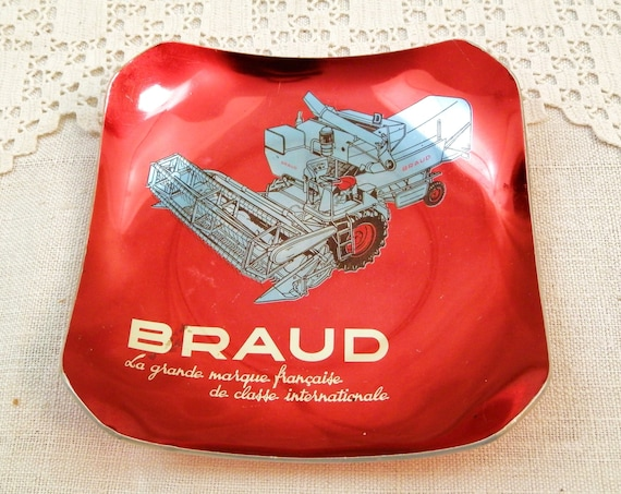 Vintage 70s Red Anodized Square Publicity Trinket Dish for Agricultural Machinery Company Braud France, Retro Ashtray with Combine Harvester