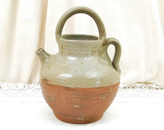 Antique French Rustic Stoneware Glazed Pottery Water Pitcher with Top Handle, Primitive Country Farmhouse Wine Jug from Corsica in France