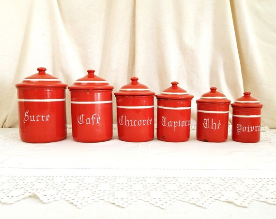 Antique French 6 Piece Red and White Enamelware Canister Set, Retro Enamel Food Pots from France, Country Farmhouse Brocante Kitchen Decor