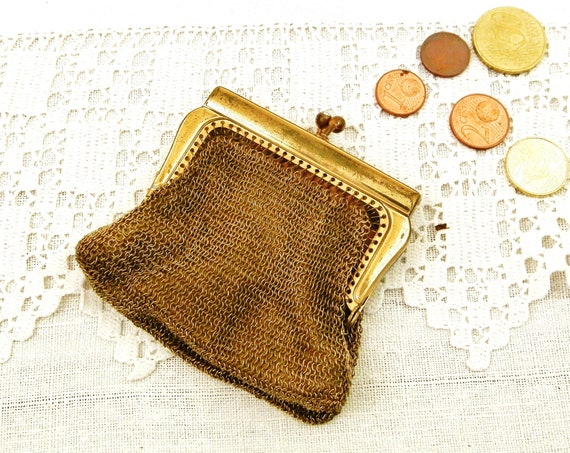 Antique French Lady's Gold Colored Chain Mail Coin Purse with Pink Satin Lining, Vintage Women Hand Bag Accessory from France, Retro Costume