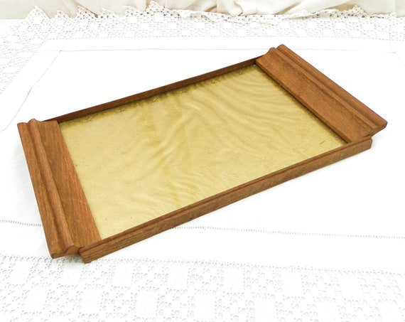 Vintage 1950s French Wooden Glass and Gold Fabric Rectangular Serving Tray, Small Table Top Condiments Tray, Retro Desk Organizer France