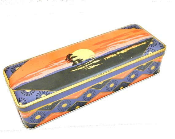 Vintage French Art Deco Style Long Rectangular Tin, Metal Box 1930s Inspired Reproduction Pattern in Orange Black and Gold from France