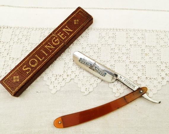 Antique German Cut Throat Razor by Solingen Rhein Mosel Kickuth Silberstahl with Original Box, Retro Shaving Equipment from France