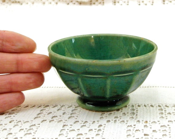 Small Antique Green Glazed French Coffee Au Lait Bowl by Gien, Retro Toy Cafe Latte Cup From France, Country Cottage Farmhouse Home Decor