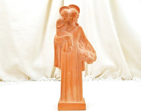 Vintage 1940s French Religious Terracotta Virgin Mary and Child Statue, Catholic Religion Pottery Our Lady and Jesus Sculpture from France