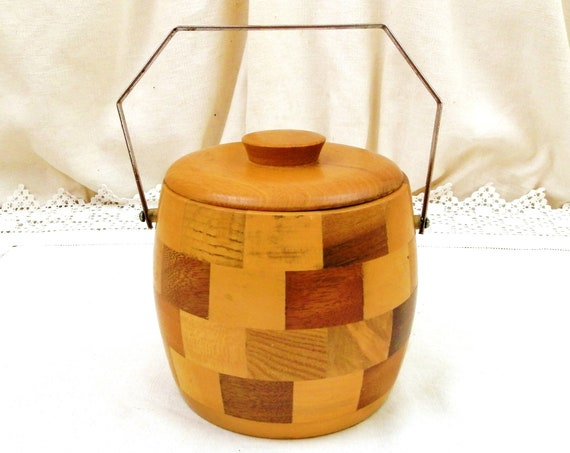 Vintage English 1960s Mid Century Cambridge Ware Wooden Patchwork Ice Cube Bucket / Barrel, Retro 60s Drinks Party Accessory made of Wood,