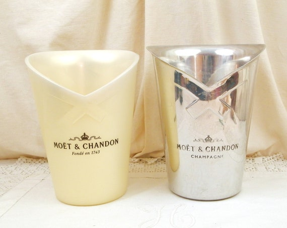 Vintage French Double 2 in 1 Moet et Chandon Champagne Ice Buckets, Retro Wine Bottle Cooler / Chiller from France, Celebration Tableware