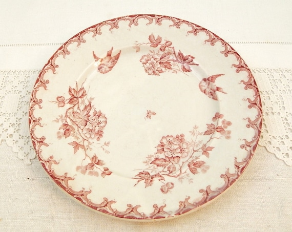 Antique French Ironstone Plate with Bird Pattern by St Amand Hamage in Maroon, Decorative Victorian Ironware Plate from France