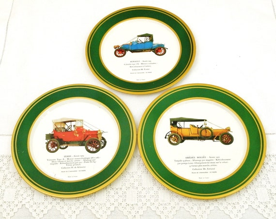 3 Vintage Retro French Metal Decorative Metal Wall Plates featuring Antique Cars Renault Amédée Bollée and Zebre Promotional Gift from Shell