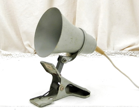 Small Vintage Mid Century Industrial Gray Painted Metal Articulated Clip On Philips Desk Lamp from France, Retro 1970s Study Clamp Light