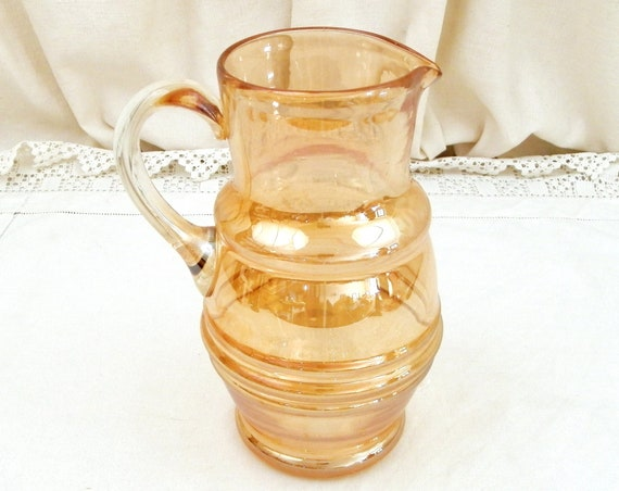 Vintage Golden Carnival Blown Glass Lemonade Pitcher, Retro Hand Made Glass Jug with Shiny, Metallic, Iridescent Surface Shimmer from Frnce