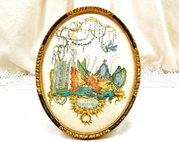 Antique French 19 th Century Oval Gilt Framed Colored Print of Stylized Butterflies, Late 1800s Round Gold Frame and Picture of Insects