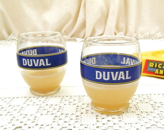 2 Vintage French Duval Pastis Glasses, Pair Pernod Ricard Drink Aperitif Glass Drinkware, Traditional Provencal Drink from France