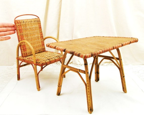 Vintage French 1950s Rattan and Bamboo Dolls Chair and Table, Retro 50s Doll Furniture from France, Child's Wooden Toys